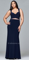 Faviana Illusion Cut Out Plus Size Prom Dress