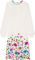 Oscar de la Renta Pintucked Floral-print Silk-satin Dress - Ivory