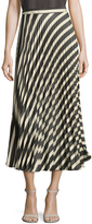 Nicole Miller Women's Liquid Stripe Pleated Midi Skirt