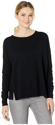 Elliott Lauren Cotton Cashmere Long Sleeve Crew Neck with Ribbed Trim (Black) Women's Clothing
