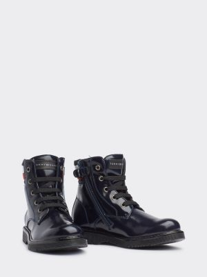 Tommy Hilfiger Signature Colour-Blocked Lace-Up Booties