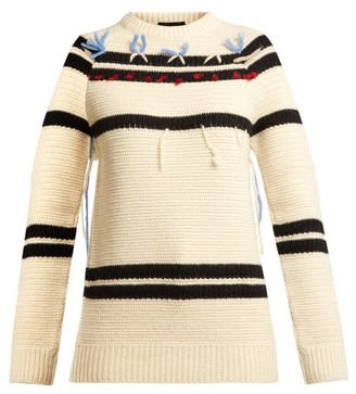 Calvin Klein Loose Thread Striped Wool Sweater - Womens - Cream