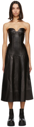 Valentino Black Leather Bustier Dress