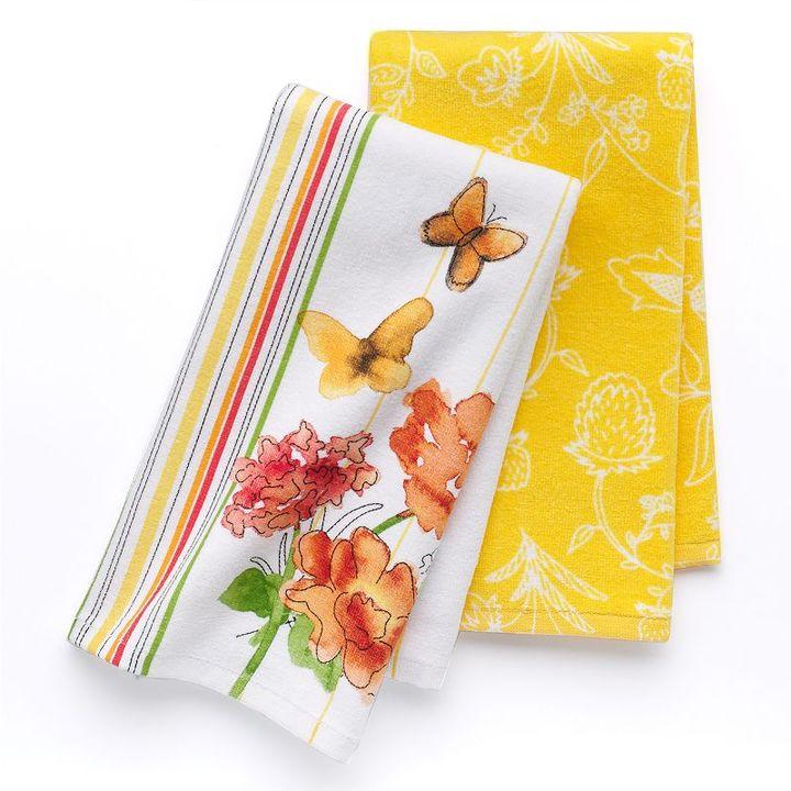Croft & barrow® 2-pk. butterfly kitchen towels