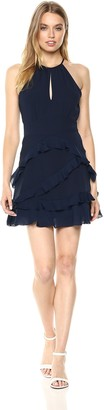 Parker Women's Pixie Sleeveless fit to Flare Ruffle Mini Dress