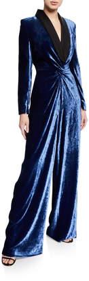 Ralph Lauren Crushed Velvet Jumpsuit with Satin Tuxedo Lapel