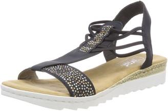 Rieker Womens Shoes 63062 Women's Sandals Summer Shoes Cushioned Sole Elastic Laces Blue (Lake/Pazifik / 14) EU 37