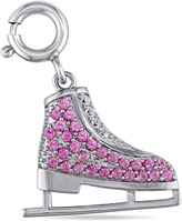 Sofia B 4/7 CT TW Lab-Created Pink and White Sapphire Silver Ice Skate Charm