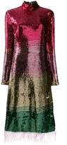 Thumbnail for your product : La DoubleJ Feather-Trim Sequin Dress