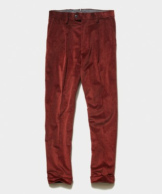 Todd Snyder Italian Pleated Cord Trouser in Rust
