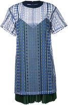Sacai layered open embroidery T-shirt dress - women - Cotton/Polyester - 1