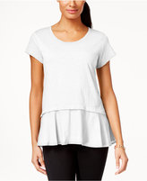 Style&Co. Style & Co Layered-Look Peplum T-Shirt, Created for Macy's