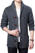 Yeokou Men's Casual Slim Thick Knitted Shawl Collar Wool Cardigan Sweaters