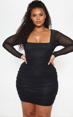 PrettyLittleThing Plus Black Mesh Square Neck Ruched Bodycon Dress