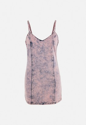 Missguided Pink Acid Wash Cami Denim Mini Dress
