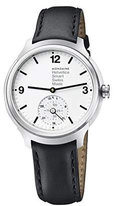 Mondaine Helvetica Stainless Steel Quartz Watch with Leather Strap