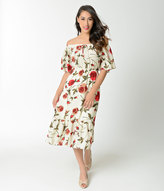 Unique Vintage 1940s Style Cream & Red Floral Off Shoulder Sheath Dress