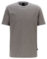HUGO BOSS - Eco Friendly Cotton T Shirt With Double Collar And Cuffs - Silver