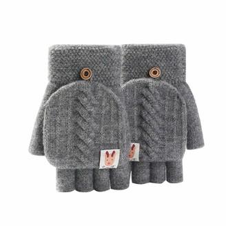 xuebinghualoll Women's Wool Half-finger Gloves with Flip Cover Knitted Convertible Fingerless Gloves Super Soft Cotton Flip Top Mittens Birthday Gifts