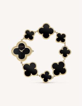 Van Cleef & Arpels Vintage Alhambra gold and onyx watch