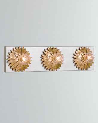 Crystorama Broche 3-Light Antiqued Gold and Silver Bathroom Vanity