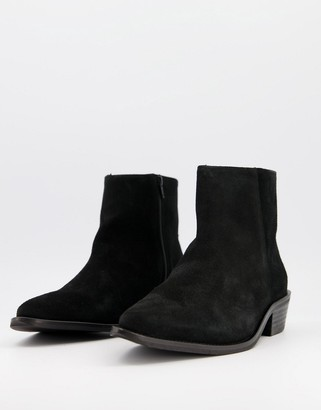 Selected suede chelsea boot with cuban heel in black