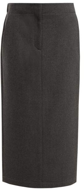 Raey Elasticated Back Wool Blend Skirt - Womens - Grey