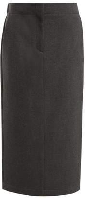 Raey Elasticated-back Wool-blend Skirt - Womens - Grey