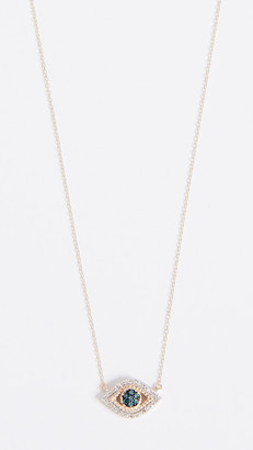 Adina 14k Gold Tiny Pave Evil Eye Necklace