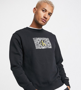 Calvin Klein Jeans ASOS exclusive oversized sweatshirt with small white noise logo in black
