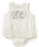 Mud Pie Baby Girls 12-18 Months Birthday One Dotted Tutu Bodysuit