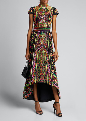 Alice + Olivia Nidia Embroidered Shoulder-Cutout High-Low Gown