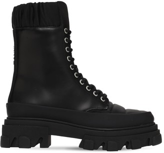 Ganni 45mm Nylon & Leather Combat Boots