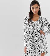 Asos DESIGN Petite smock mini dress with button through in leopard print