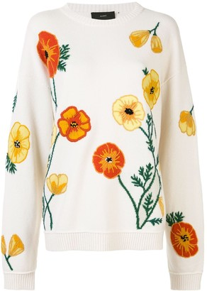 Alanui Poppy-Intarsia Embroidered Jumper