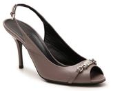 Gucci Final Sale Leather Nameplate Peep Toe Pump