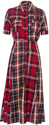 Desigual Women's Casual Dresses 3215 - Red & Navy Plaid Short-Sleeve Shirt Dress - Women