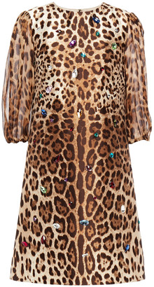Dolce & Gabbana Leopard-print Chiffon-paneled Embellished Silk And Wool-blend Mini Dress
