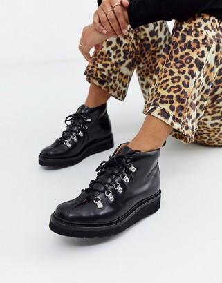 Grenson Bridget hiker boot in black leather
