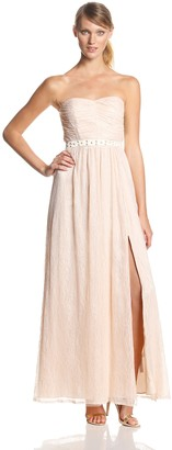 Adrianna Papell Women's Strapless Studded Waist Lace Gown