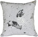 Mermaid Sequin Square Throw Pillow in White/Silver