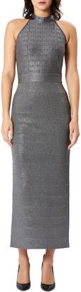 Herve Leger Crystal-Embellished Halter Open-Back Gown