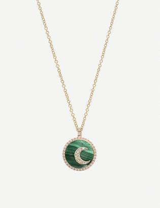 THE ALKEMISTRY Noush 14ct gold, malachite and diamond moon necklace