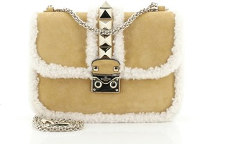 Valentino Glam Lock Shoulder Bag Suede with Shearling Small