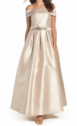 Brinker & Eliza Women's Off The Shoulder Roll Collar Ball Gown