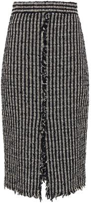 Alexander McQueen Frayed Cotton-blend Boucle-tweed Midi Skirt