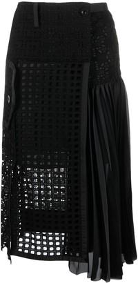 Sacai Guipure-Lace Midi Skirt