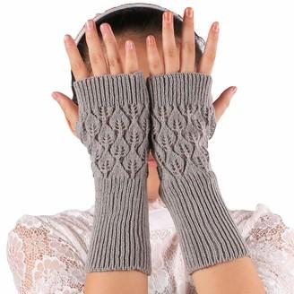 Hshduti Women Gloves Hollow Leaves Fingerless Knit Warm Women Solid Color High Elastic Long - Light Gray
