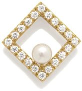 Tatitoto Gioie Women's Pendant in 18k Gold with Cultivated Pearl and White Cubic Zirconia, 5.1 Grams