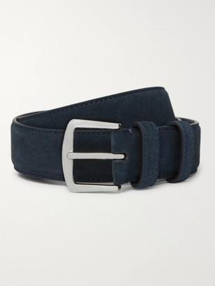 Loro Piana 3.5cm Midnight-Blue Suede Belt